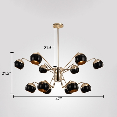 Modernism Spherical Hanging Ceiling Lamp Metal Multi Light Decorative Chandelier Light in Brass