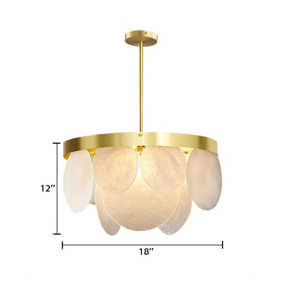 Ring Chandelier Lamp Nordic Style Modern Seeded Glass 4/6/8 Lights Hanging Light in Gold