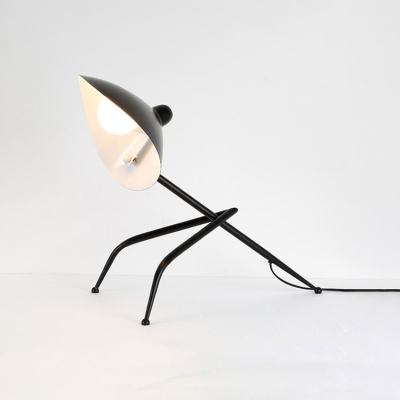 Single Light Tripod Desk Lamp with Duckbill Shade Modern Fashion Metal Standing Desk Light in Black