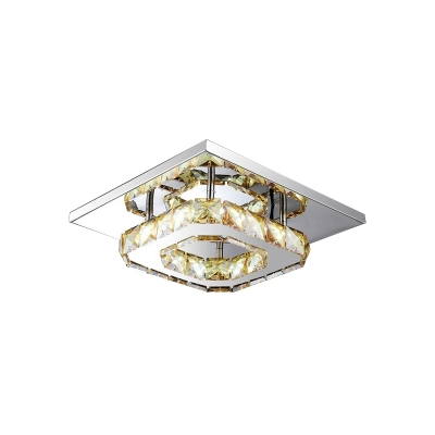 Square LED Semi Flushmount with Amber Crystal Decoration Modernism Ceiling Lamp for Hallway