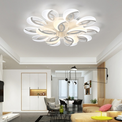 2 Tiers Peacock Design Lighting Fixture Concise Metal Multi Light Ceiling Light in Warm/White/Neutral