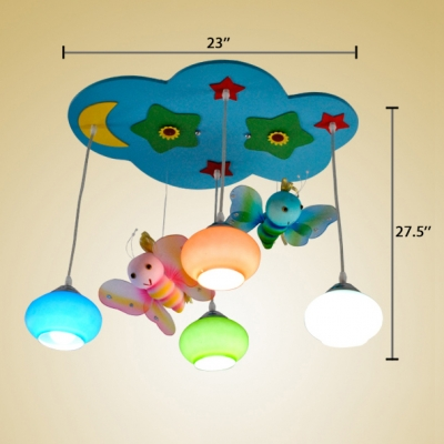 4 Lights Bee Pendant Lighting Nursing Room Hanging Ceiling Lamp with Colorful Glass Shade