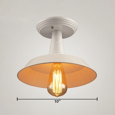 Farmhouse Ceiling Light Industrial Simple One Light Semi Flush Mount with Metal Shade in Matte White