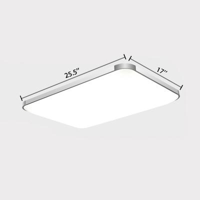 Aluminum Rectangle Flush Mount Light Contemporary LED Ceiling Flush Mount in Silver for Foyer