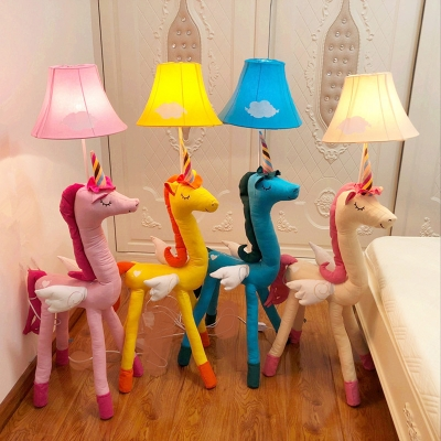 Bell Floor Lamp with Cute Unicorn Base Colorful Baby Kids Room Fabric Shade 1 Bulb Floor Light