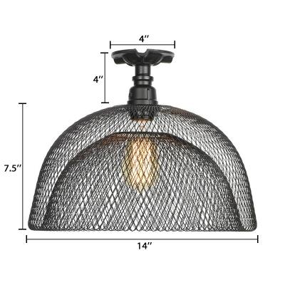 Black Mesh Cage Ceiling Flush Mount Vintage Metallic Single Head Semi Flush Mount for Coffee Shop