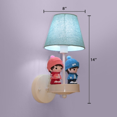 Blue Fabric Shade Wall Light with Cute Boys and Girls 1 Light Wall Mount Fixture for Baby Room