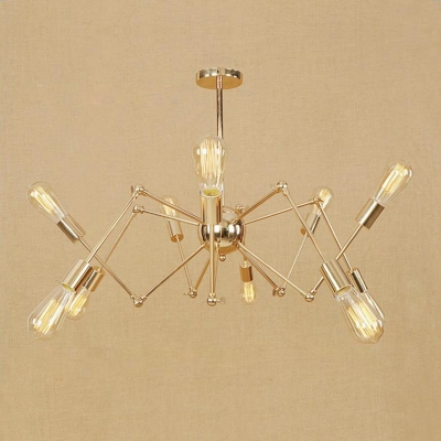 Brass Finish Abstract Chandelier with Adjustable Arm Vintage Metal 6/8/10 Lights Hanging Light