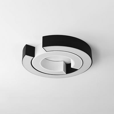 C Shape Lighting Fixture Modernism Concise Metal Surface Mount LED Light in Black for Corridor