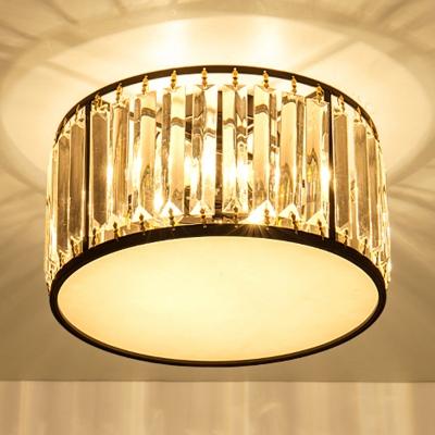 Crystal Drum Indoor Lighting Fixture Modernism 3/4/5 Lights Semi Flush Light Fixture in Black