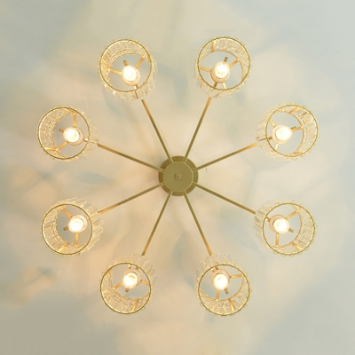 Cylinder Ceiling Light Modern Fashion Crystal 3/5 Lights Semi Flush Mount in Gold for Coffee Shop