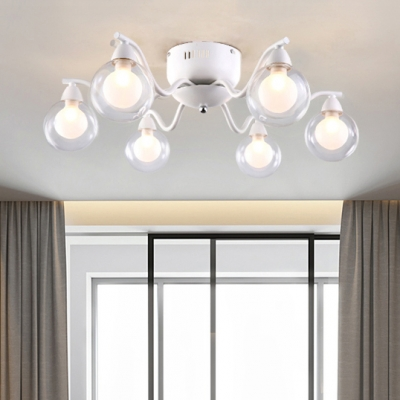 Gl Shade Modo Semi Flush Light Fixture Contemporary 6 Lights