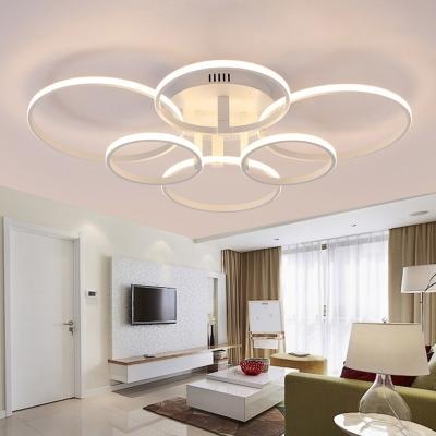Modern Multi Ring Semi Flush Mount Light Acrylic Led