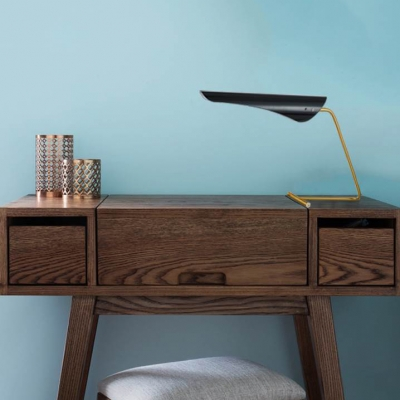 Post Modern Oblique Table Lamp with Black Metal Shade 1 Light Decorative Standing Table Light