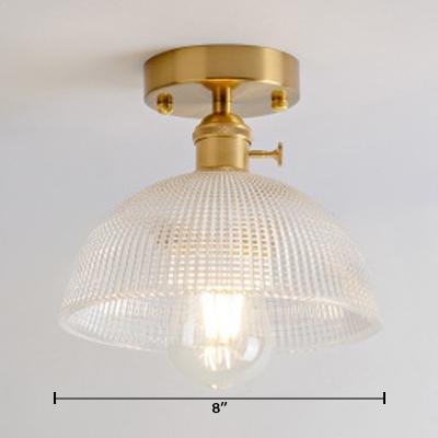 Prismatic Glass Hemisphere Indoor Lighting Retro Style Single Light Semi Flush Mount in Warm Brass