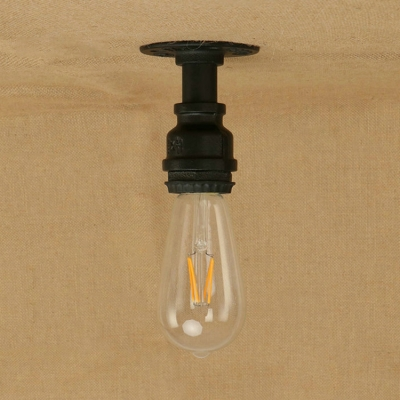Retro Style Mini Semi Flush Light Fixture with Open Bulb Metallic 1 Heads Surface Mount Light in Matte Black