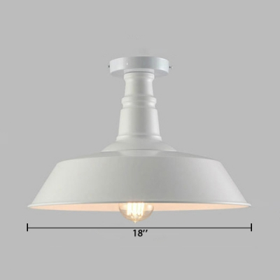 White Barn Ceiling Lamp Retro Style Metal Single Head Semi Flush Mount Lighting for Kitchen