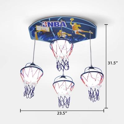 White Basketball Hanging Light Glass Shade 4 Lights Pendant Lamp for Game Room