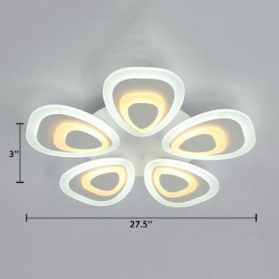 3/5 Heads Peacock Indoor Ceiling Lamp Stylish Modern Acrylic Eye Protection LED Semi Flush Mount