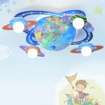 4 Heads Tellurion LED Flush Light Baby Kids Room Wooden Ceiling Fixture in Blue