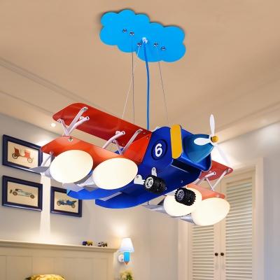 4 Lights Biplane Suspended Light Boys Room Metallic Chandelier Lamp in White