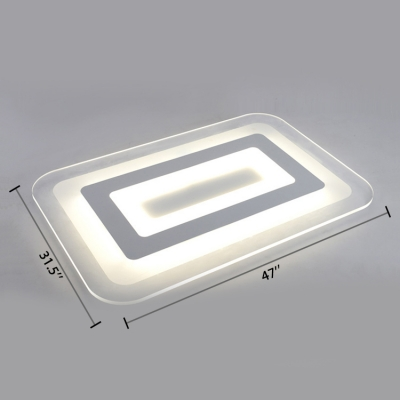 Acrylic Super-thin Ceiling Flush Mount with Oblong Simple Concise LED Lighting Fixture in Warm/White