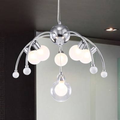 Chrome Curved Arm Suspension Light Post Modern Opal Glass 6 Heads Chandelier Ceiling Light