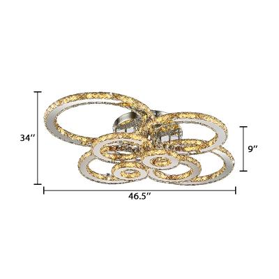 Crystal Multi Ring Semi Flush Mount Luxury Modern Decorative LED Surface Mount Ceiling Light