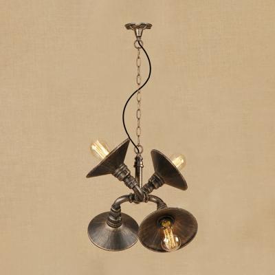 Metallic Flared Suspension Light Retro Style 4 Bulbs Chandelier Lighting in Antique Bronze/Silver