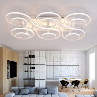 Multi Light Ring Semi Flush Light Fixture Modern Chic Aluminum LED Ceiling Lamp in Warm/White