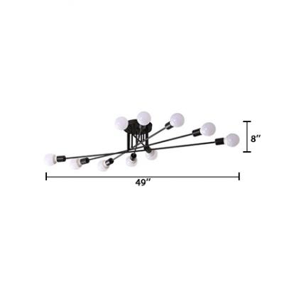 Multi Lights Linear Semi Flush Mount Modernism Metal Ceiling Lamp in Black for Bedroom