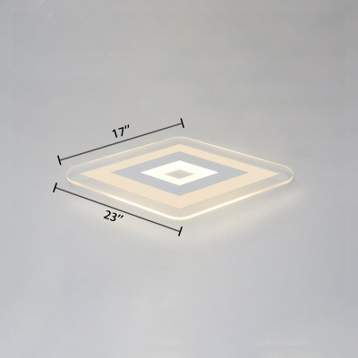 Ultrathin Ceiling Light Modernism Concise Eye Protection Acrylic LED Flush Mount in White for Bedroom