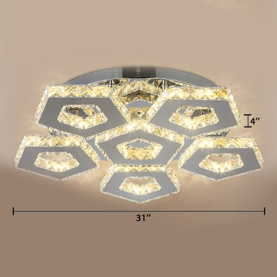 Stainless Pentagon Ceiling Fixture Contemporary LED Semi Flush Light Fixture with Crystal