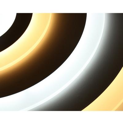 Ultra Thin Circular Flush Mount Minimalist Metallic LED Lighting Fixture in Matte White for Restaurant