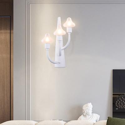 White Finish Mushroom Sconce Light Contemporary Opal Glass 3 Heads LED Wall Mount Light