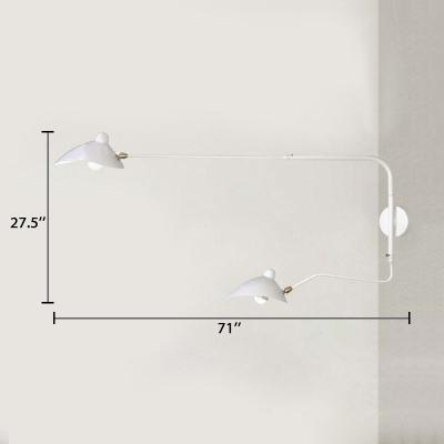White Swing Arm Wall Mount Light with Duckbill Shade Modernism Metallic 2 Lights Sconce Light