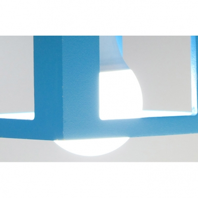 Wood Blue House Suspension Light Nursing Room Triple Lights Pendant Lamp