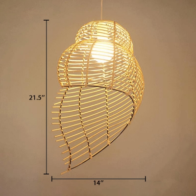 1 Light Conch Shell Hanging Light Fixture Contemporary Rattan Suspension Light in Beige