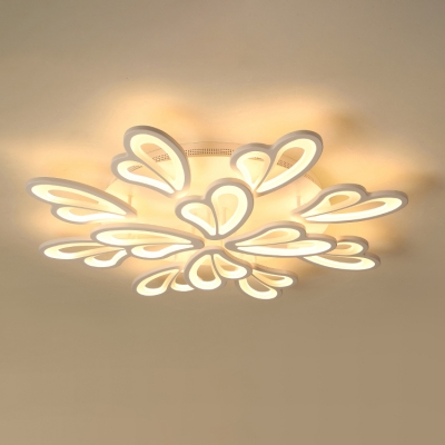 2 Tiers Semi Flush Light with Heart Design Stylish Modern Metal Multi Lights LED Ceiling Fixture in White