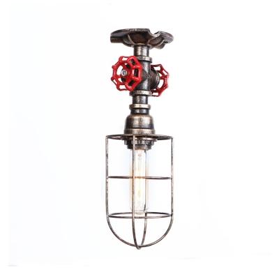1 Light Caged Kitchen Lighting Industrial Antiqued Metal Semi Flush Mount in Matte Black/Aged Silver/Aged Bronze