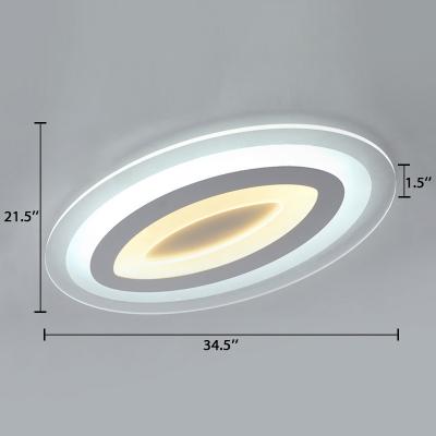Acrylic Ultrathin Ellipse Flush Mount Modernism Surface Mount LED Light in White for Study Room