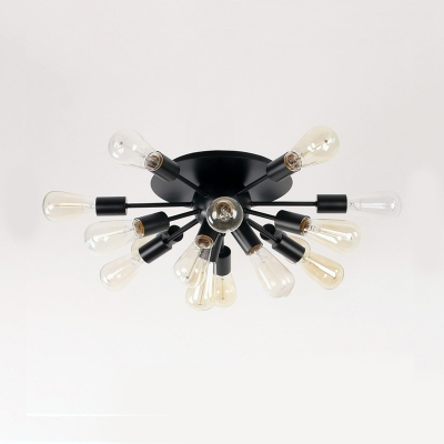 Black Starburst Semi Flush Mount Light Modernism Metal Multi Light Art Deco Surface Mount Ceiling Light