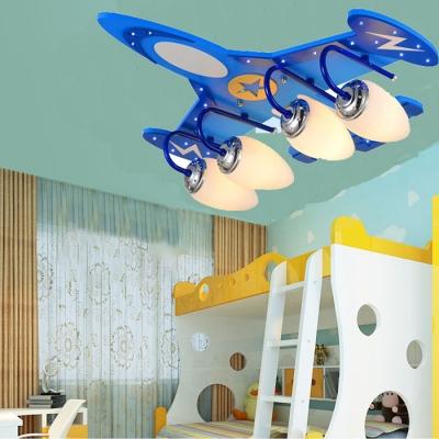 Blue Aircraft Semi Flush Mount Light Glass Shade 4 Heads Lighting Fixture for Nursing Room