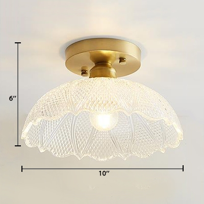Brass Finish Textured Ceiling Light with Clear Glass Shade Vintage 1 Head Semi Flush Light Fixture