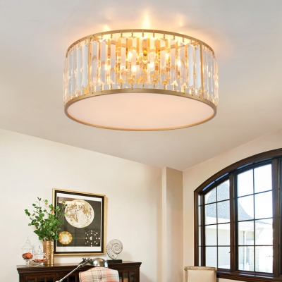 fabulous drum pendant light fixtures living room | Gold Drum Semi Flush Mount Modernism Crystal 3/4/5 Bulbs ...