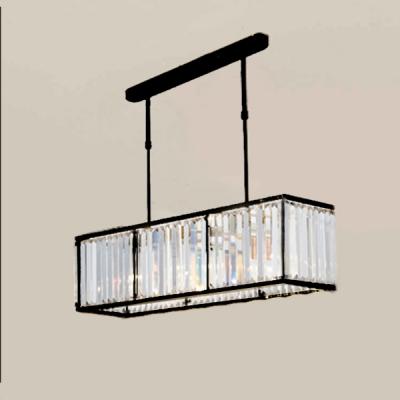 Linear Hanging Lamp Modern Design Decorative Crystal 4 Lights Chandelier in Black for Dining Room