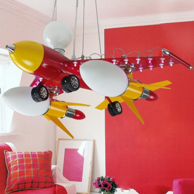 Metal Hanging Chandelier with Red Aircraft 5 Lights Hanging Ceiling Lamp for Boys Room