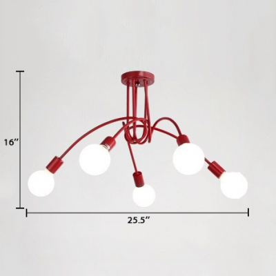 Minimalist Bare Bulb Semi Flush Light Fixture Metal 3/5 Lights Ceiling Fixture with Scarlet Red Twisted Arm