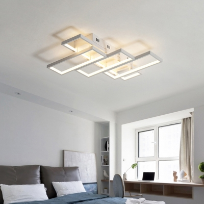 Modern Ultra Thin LED Flush Ceiling Light with Rectangle Frame Metal Lighting Fixture in White