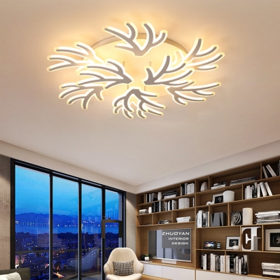 Multi Lights Coral Ceiling Lamp Modern Acrylic Art Deco LED Ceiling Fixture in White for Living Room